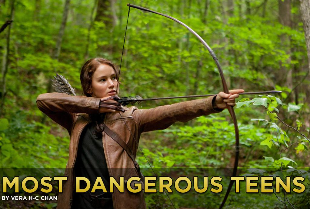 "Puberty unleashes the killer instinct. Katniss Everdeen's the newest  pledge in an exclusive and mostly female society of teen avengers and  assassins. After decades of testosterone cinema, females are now allowed  a Hollywood fantasy fight. Are these underage antiheroes showing girl  power? Has Hollywood reached an equal-opportunity turning point in <a href=""http://www.details.com/celebrities-entertainment/women/201104/hollywood-stars-stilettos-salt-sucker-punch-kick-ass"">reflecting female societal gains</a>? Or in Lucy van Pelt mode, can girls just get away with murder? Tread carefully through film's most dangerous teens."