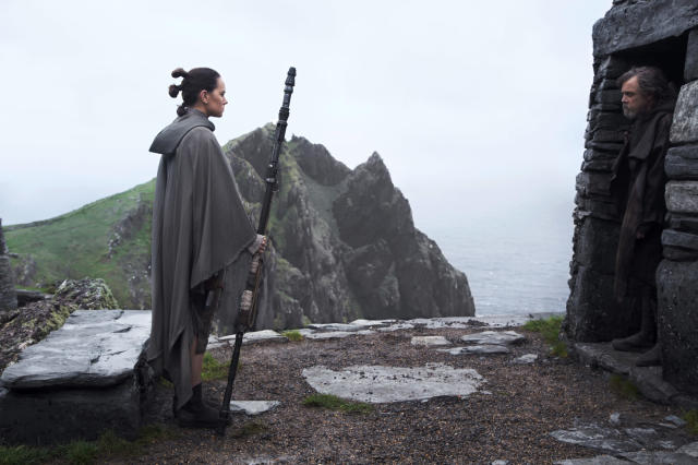Daisy Ridley as Rey and Mark Hamill as Luke Skywalker in <i>Star Wars: The Last Jedi.</i> (Photo: Lucasfilm)