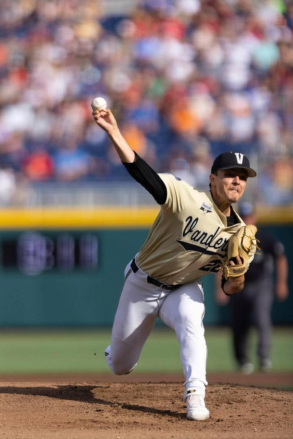 Vanderbilt starting pitcher Jack Leiter throws against North Carolina State in the first inning during a baseball game in the College World Series, Monday, June 21, 2021, at TD Ameritrade Park in Omaha, Neb. (AP Photo/Rebecca S. Gratz)