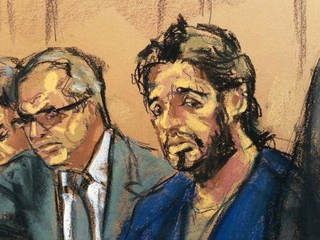 Turkish gold trader Reza Zarrab is shown in this court room sketch with lawyer Marc Agnifilo as he appears in Manhattan federal court in New York