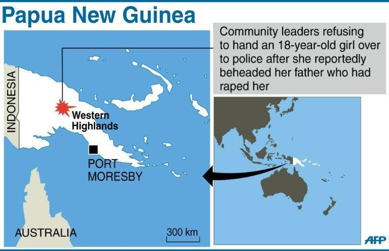 Graphic map showing the Western Highlands in Papua New Guinea, where a teenage girl reportedly beheaded her father