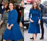 <p>It was a cobalt Eponine London dress coat for the a visit to a child bereavement center at CBUK Stratford in January 2017. Middleton re-wore the classic knee-length coat in November 2018 while attending the opening of a McLaren Technology center. </p>