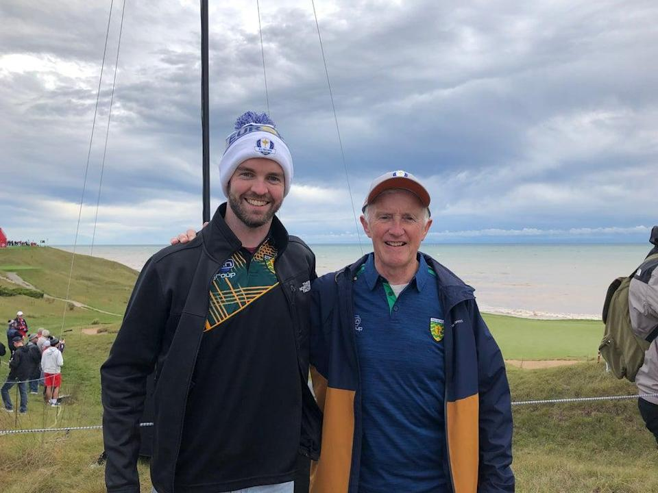 European fans Stephen and Padraig Carr at Whistling Straits (Phil Casey/PA)