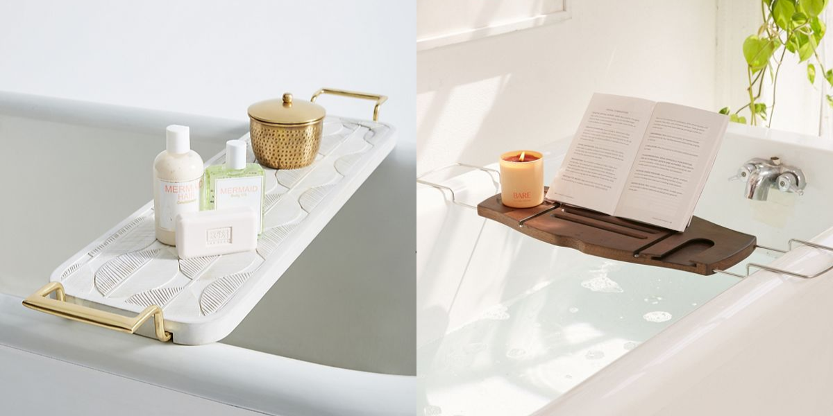 """<p>After a long, hard day, sometimes all you want to do is unwind in a nice, warm bubble bath. If that sounds like your ideal way to destress, you deserve to <a href=""""https://www.housebeautiful.com/shopping/home-accessories/g22678845/relaxing-bath-products/"""" target=""""_blank"""">upgrade your bath</a> to a more spa-like experience—and that's where a bathtub tray comes in. Designed to rest across your tub and give you space for everything you could possibly need while you soak (including <a href=""""https://www.housebeautiful.com/shopping/home-accessories/g21990009/celebrities-favorite-candles/"""" target=""""_blank"""">candles</a>, a book or a tablet, and yes, even a glass of wine), these bath caddies are the best of the best, both in style and function.  </p>"""