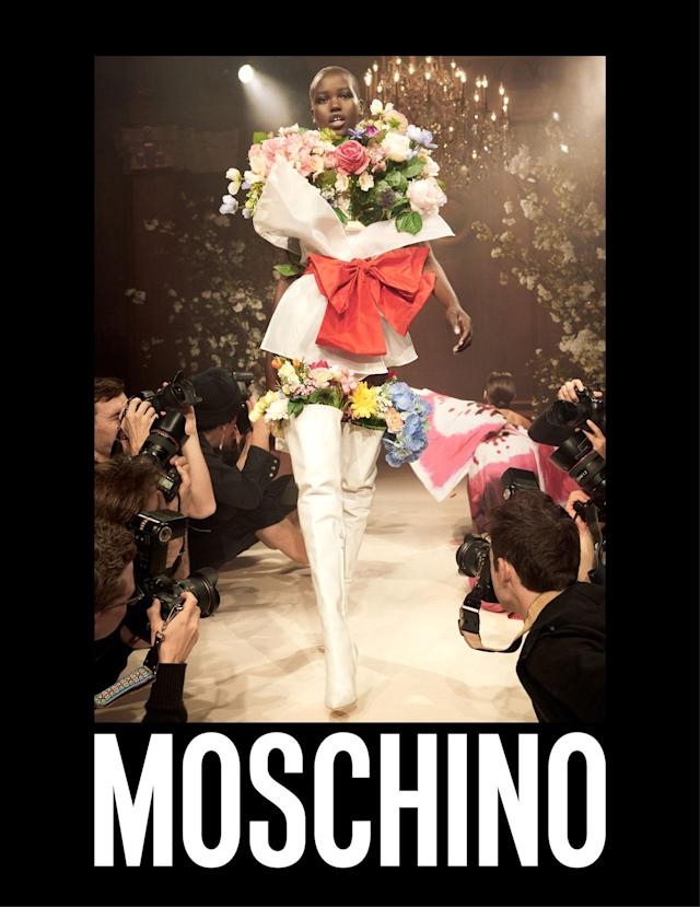 <p><strong>Model:</strong> <span>Adut Akech Bior</span><br><strong>Photographer:</strong> Steven Meisel<br>(Photo: Courtesy of Moschino)<br></p>