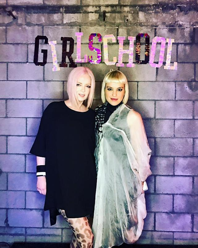 Shirley Manson, left, and Anna Bulbrook at Girlschool 2017. (Photo: Facebook)