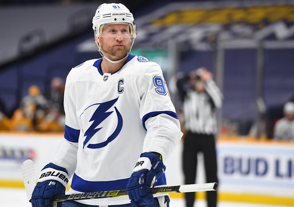 Tampa Bay Lightning center Steven Stamkos is leading the team with 14 points.