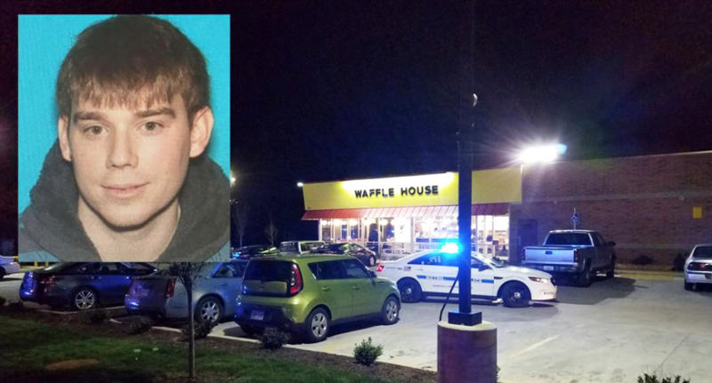 A shooting at a Waffle House near Nashville, Tenn., left four people dead and several injured, according to police, who say Travis Reinking, 29, of Morton, Ill., (inset) is a person of interest in the case. (Nashville Police Department)