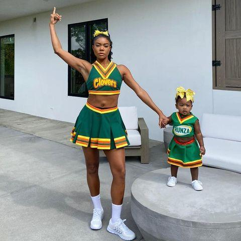 """<p><a href=""""https://www.elle.com/uk/life-and-culture/culture/a29606711/stormi-webster-halloween-costume-kylie-jenner-met-gala/"""" rel=""""nofollow noopener"""" target=""""_blank"""" data-ylk=""""slk:It wasn't just Kylie Jenner who chose to dress their daughter up as mini versions of themselves"""" class=""""link rapid-noclick-resp"""">It wasn't just Kylie Jenner who chose to dress their daughter up as mini versions of themselves</a>. Union threw it back all the way to 2000 by dressing it up<a href=""""https://www.elle.com/uk/fashion/celebrity-style/a28926946/rodarte-campaign-bring-it-on-kirsten-dunst-gabrielle-union/"""" rel=""""nofollow noopener"""" target=""""_blank"""" data-ylk=""""slk:as her Bring It On character, the East Compton Clovers' captain Isis"""" class=""""link rapid-noclick-resp""""> as her Bring It On character, the East Compton Clovers' captain Isis </a>and fetching a similar little cheerleader costume for her 11-month-old daughter Kaavia.</p><p>Just adorable.</p><p><a href=""""https://www.instagram.com/p/B4IrulDpJHP/"""" rel=""""nofollow noopener"""" target=""""_blank"""" data-ylk=""""slk:See the original post on Instagram"""" class=""""link rapid-noclick-resp"""">See the original post on Instagram</a></p>"""