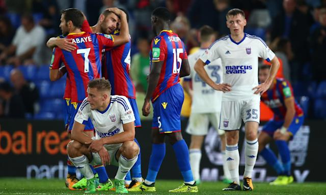 Yohan Cabaye of Crystal Palace and Jeffrey Schlupp of Crystal Palace celebrate victory in the Carabao Cup against Ipswich at Selhurst Park.