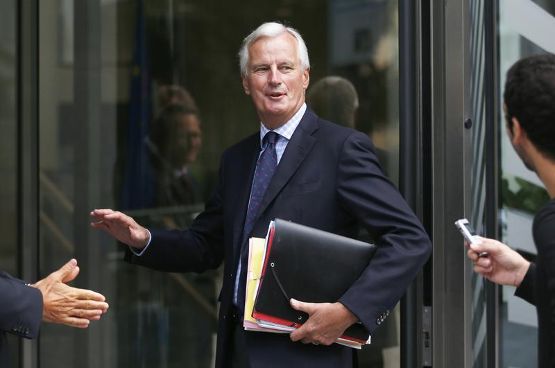 EU Internal Market and Services Commissioner Barnier arrives at a seminar in Brussels