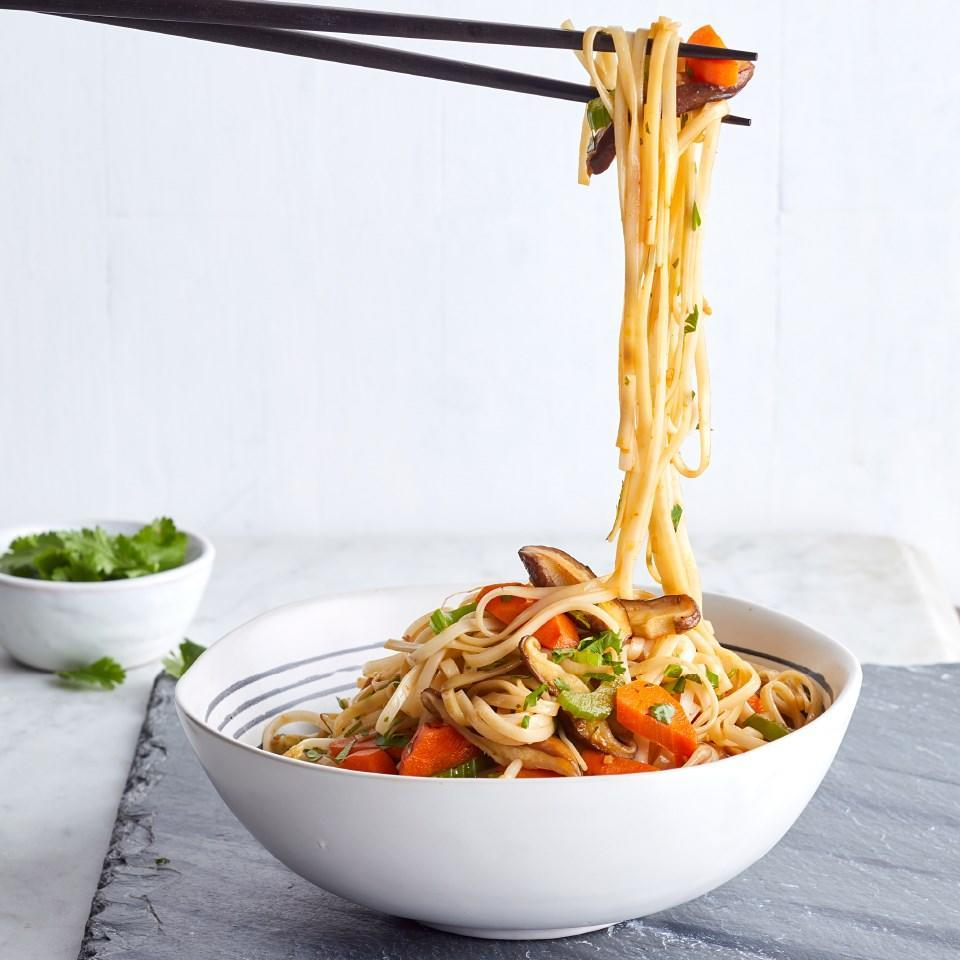 <p>A hit of Sriracha gives a sweet and spicy edge to this healthy vegetarian recipe. Traditional lo mein is made with fresh lo mein noodles, which can be found in Asian markets. You can also use fresh or dried linguine noodles--fresh linguine is in the refrigerated section of some grocery stores. This easy dinner comes together in just 30 minutes, so it's perfect for weeknights.</p>