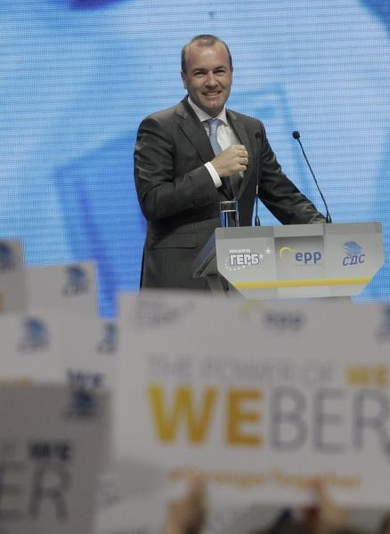 Germany's Manfred Weber of the European People's Party addresses the audience at the Bulgaria's GERB ruling Party rally in Sofia, Bulgaria, Sunday, May 19, 2019. The rally comes days before more than 400 million Europeans from 28 countries will head to the polls to choose lawmakers to represent them at the European Parliament for the next five years. (AP Photo/Valentina Petrova)