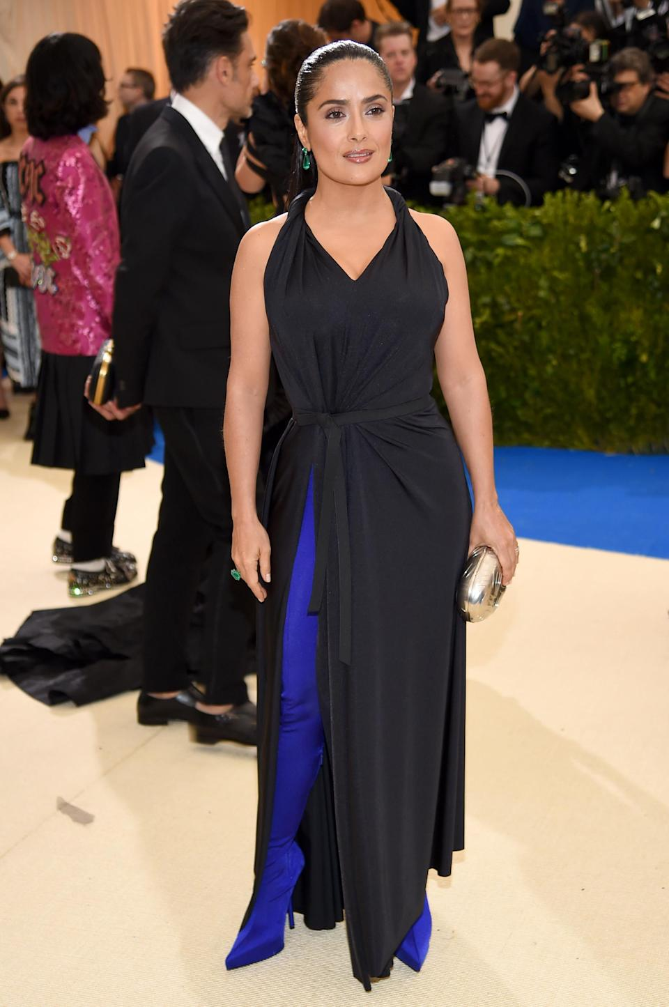 Salma Hayek wearing the shoe-trouser hybrid at the Met Gala. [Photo: Getty]