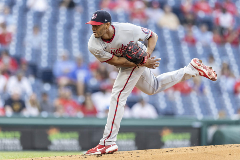 Washington Nationals starting pitcher Joe Ross throws during the first inning of a baseball game against the Philadelphia Phillies, Monday, July 26, 2021, in Philadelphia. (AP Photo/Laurence Kesterson)
