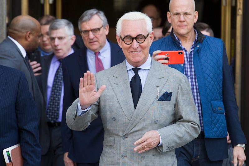 Roger Stone, an associate of President Trump's, leaves the U.S. District Court, after a court status conference on his seven charges in Washington. (Photo: Cliff Owen/AP)