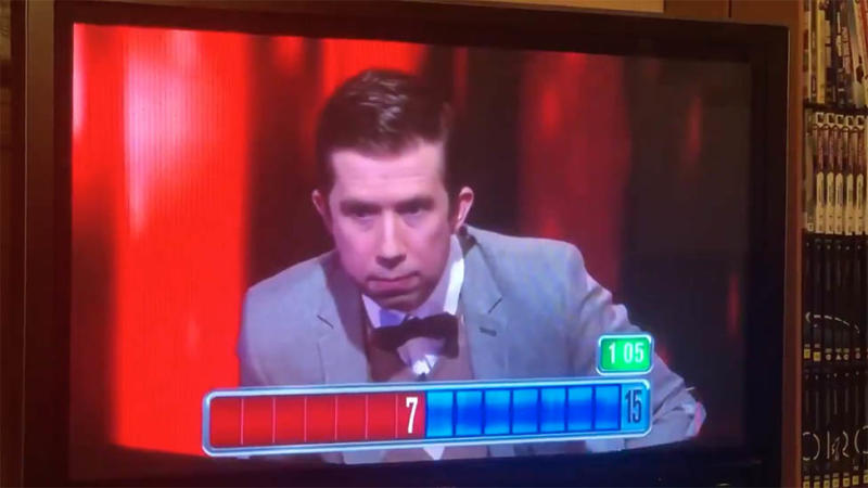 Photo of TV screen showing Issa Schultz on Channel Seven's The Chase