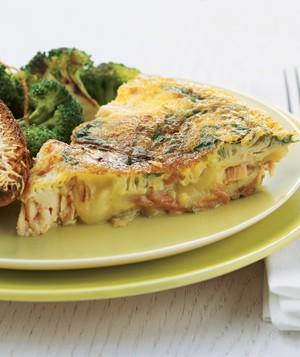 <p>Add a few superfoods to your Christmas morning breakfast with this easy frittata, which features salmon, sweet potatoes and a touch of tarragon.</p>
