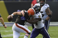 Baltimore Ravens linebacker Tyus Bowser (54) sacks Cleveland Browns quarterback Baker Mayfield (6), during the second half of an NFL football game, Sunday, Sept. 13, 2020, in Baltimore, MD. (AP Photo/Julio Cortez)