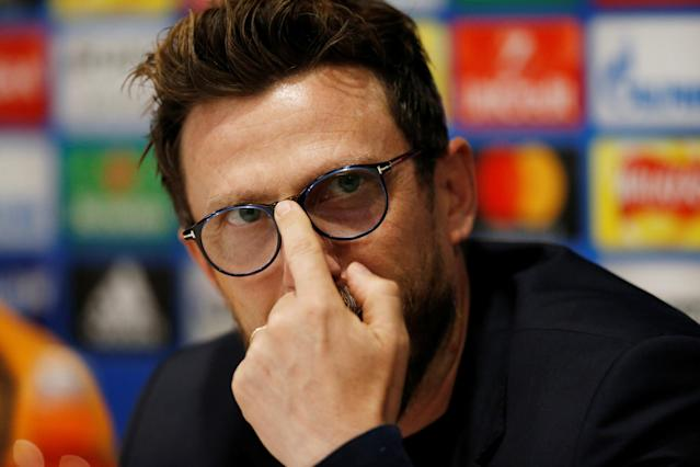 Soccer Football - Champions League - AS Roma Press Conference - Anfield, Liverpool, Britain - April 23, 2018 Roma coach Eusebio Di Francesco during the press conference Action Images via Reuters/Ed Sykes