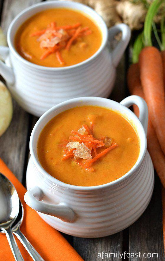 """<p>Spice up your carrot soup with some ginger.</p><p>Get the recipe from <a href=""""http://www.afamilyfeast.com/carrot-ginger-soup/#_a5y_p=1430073"""" rel=""""nofollow noopener"""" target=""""_blank"""" data-ylk=""""slk:A Family Feast"""" class=""""link rapid-noclick-resp"""">A Family Feast</a>.</p>"""