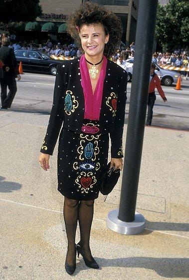 WORST: In 1988, Tracey Ullman wore this dress, which looked like it was made out of a table cloth from an Indian restaurant, to the Emmy Awards. Maybe it was a gag dress, but we're supposed to be laughing with you, Tracey, not at you. (Photo by Ron Galella, Ltd./WireImage)