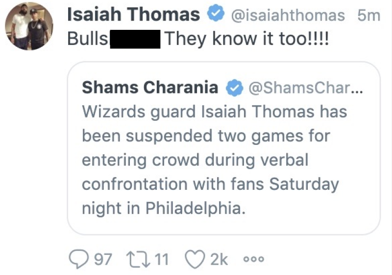 Isaiah Thomas wasn't happy about his suspension. (Screenshot via @isaiahthomas on Twitter)