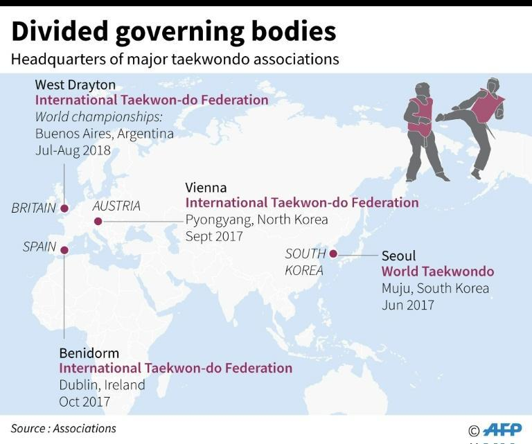 Map locating the headquarters of different governing bodies for taekwondo worldwide