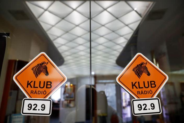 FILE PHOTO: The logo of the opposition Klubradio is seen at its headquarters in Budapest