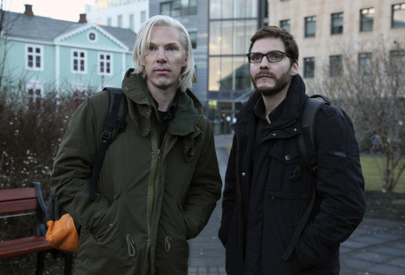 In this undated photo released Wednesday Jan.23, 2013, by DreamWorks Studios,  Benedict Cumberbatch as Julian Assange (left) with Daniel Bruhl as Daniel Domscheit-Berg are seen during the filming of  the WikiLeaks drama, The Fifth Estate, by the film company, in Reykjavik, Iceland.  The film traces the  early days of WikiLeaks, culminating in the release of a series of controversial and history changing information leaks,  and is due out in the USA in November.(AP Photo/ Frank Connor / DreamWorks Studios)