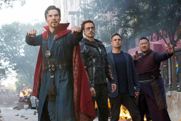 PHOTO: Benedict Cumberbatch, Robert Downey Jr., Mark Ruffalo and Benedict Wong in a scene from 'Avengers: Infinity War.' (Marvel via AP)