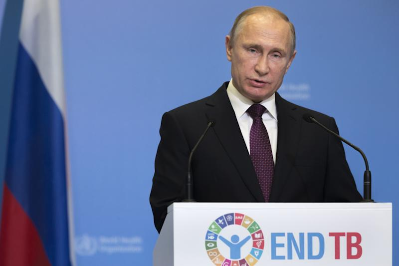 Russian President Vladimir Putin speaks Thursday before the Global Ministerial Conference held by the World Health Organization in Moscow. The conference this year was dedicated to the tuberculosis epidemic.