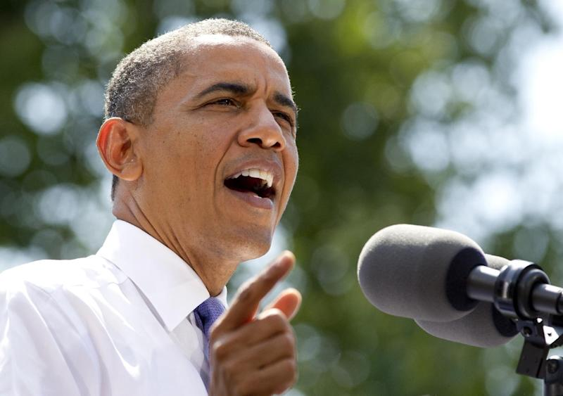 President Barack Obama speaks during a campaign event at Capital University, Tuesday, Aug. 21, 2012, in Columbus, Ohio (AP Photo/Carolyn Kaster)