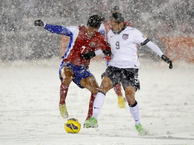 Gomez returned to the USMNT for World Cup qualifying, including the famous snow game against Costa Rica in Colorado. (AP Photo)