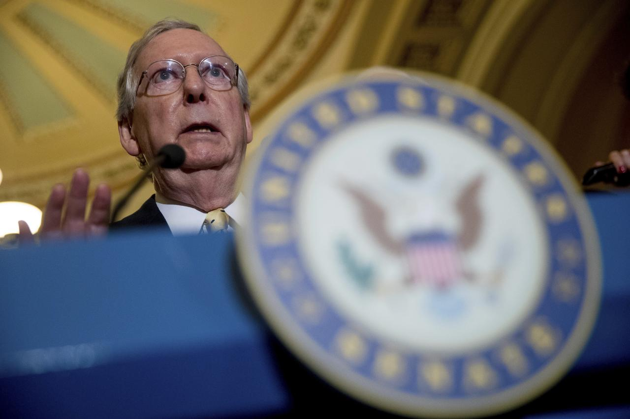 "In this July 18, 2017 photo, Senate Majority Leader Mitch McConnell of Ky. speaks at a news conference on Capitol Hill in Washington. There are many reasons why the Senate will probably reject Republicans' crowning bill razing much of ""Obamacare."" There are fewer why Senate Majority Leader Mitch McConnell might revive it and avert a GOP humiliation. (AP Photo/Andrew Harnik)"