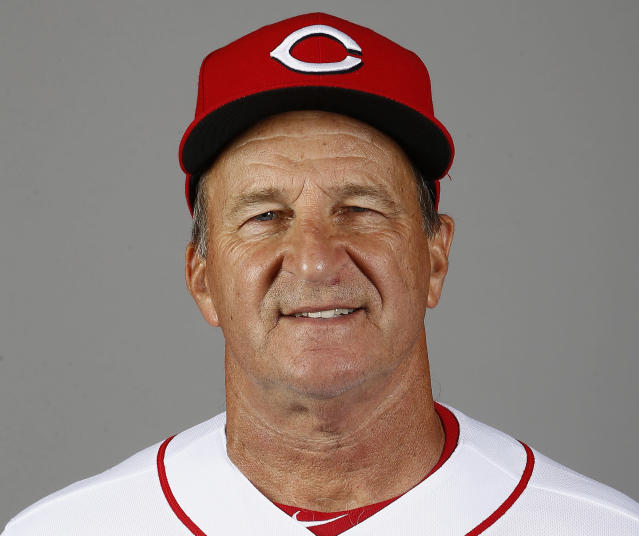 FILE - This is a 2018 file photo showing bench coach Jim Riggleman of the Cincinnati Reds baseball team, in Goodyear, Ariz. The Reds fired Bryan Price on Thursday, April 19, 2018, after their 3-15 start, the first managerial change in the major leagues this season. Riggleman will manage the team on an interim basis. (AP Photo/Ross D. Franklin)