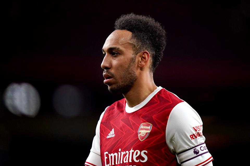 Arsenal's Pierre-Emerick Aubameyang during the Premier League match at the Emirates Stadium, London. Picture date: Sunday February 21, 2021. (Photo by John Walton/PA Images via Getty Images)