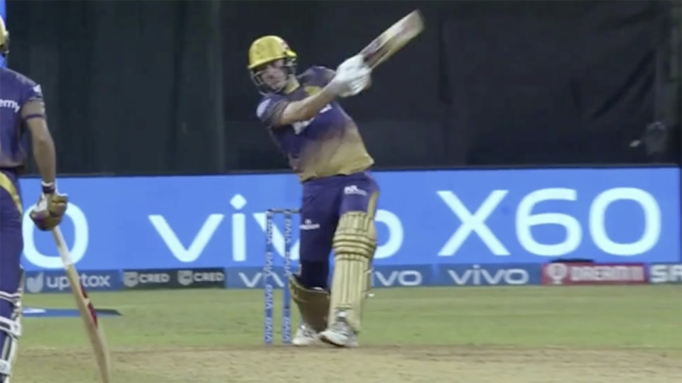 Aussie star Pat Cummins smashed 30 off one IPL over but it wasn't enough to secure the win for his Kolkata Knight Riders. Picture: IPL