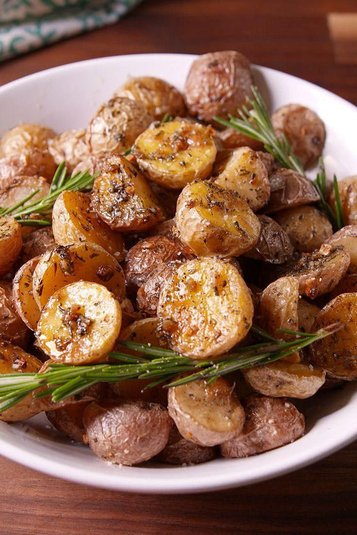 """<p>The perfect side for your vegan feast.</p><p>Get the recipe from <a href=""""https://www.delish.com/cooking/recipe-ideas/recipes/a50803/rosemary-roasted-potatoes-recipe/"""" rel=""""nofollow noopener"""" target=""""_blank"""" data-ylk=""""slk:Delish"""" class=""""link rapid-noclick-resp"""">Delish</a>.</p><p><em><strong>BUY NOW: Calphalon Nonstick Bakeware, $30; <a href=""""https://www.amazon.com/Calphalon-Nonstick-Bakeware-Baking-2-Piece/dp/B008BUKO6G/?tag=syn-yahoo-20&ascsubtag=%5Bartid%7C10070.g.37191763%5Bsrc%7Cyahoo-us"""" rel=""""nofollow noopener"""" target=""""_blank"""" data-ylk=""""slk:amazon.com"""" class=""""link rapid-noclick-resp"""">amazon.com</a>.</strong></em></p>"""