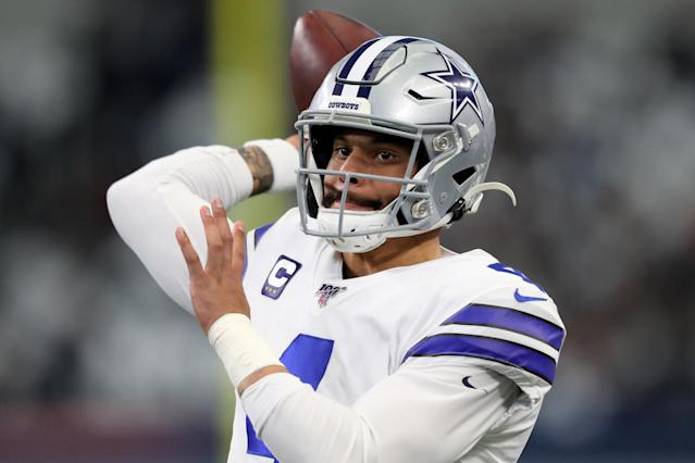 "<a class=""link rapid-noclick-resp"" href=""/nfl/players/29369/"" data-ylk=""slk:Dak Prescott"">Dak Prescott</a>'s contract situation is one of the hottest topics of the NFC offseason. (Photo by Tom Pennington/Getty Images)"