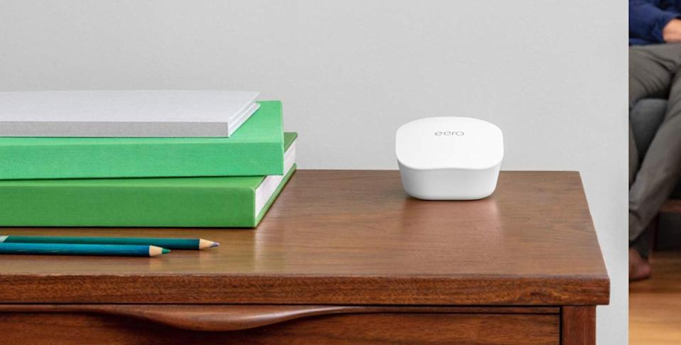 Save 33 percent on the eero Mesh Network system, plus get a free Echo Dot. (Photo: eero)
