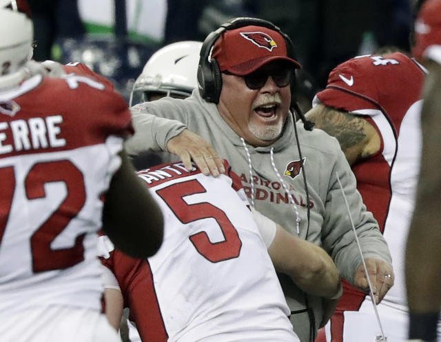 "Bruce Arians may be color commentating on ""Monday Night Football"" in the near future. (AP Photo/Elaine Thompson)"