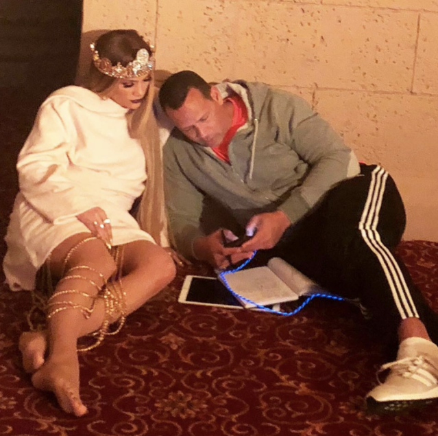 "<p>J.Lo may be a workaholic, but that doesn't mean she's missing out on time with her man. The actress/singer posted this photo of her boyfriend, Alex Rodriguez, keeping her company while she was keeping some crazy hours. ""On the set at 2:30am,"" she captioned the shot. Adding the hashtag, ""#whenyouknowhegotyou"" (Photo: <a href=""https://www.instagram.com/p/Bg4lrxylyJU/?taken-by=jlo"" rel=""nofollow noopener"" target=""_blank"" data-ylk=""slk:Jennifer Lopez via Instagram"" class=""link rapid-noclick-resp"">Jennifer Lopez via Instagram</a>) </p>"
