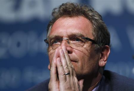 FIFA General Secretary Jerome Valcke listens to a question during an announcement on the status of Curitiba as a host city for the 2014 World Cup, in Florianopolis, Santa Catarina state, February 18, 2014. REUTERS/Sergio Moraes