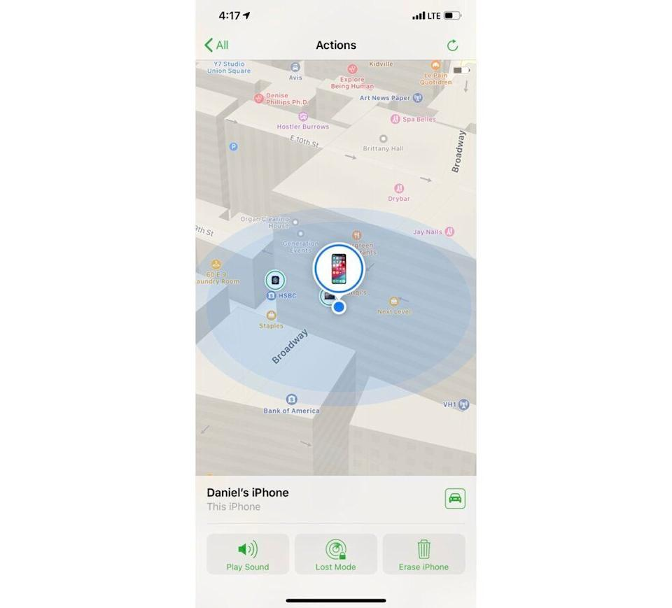 The Find My iPhone app will help you locate your lost or stolen device. (Image: Dan Howley)