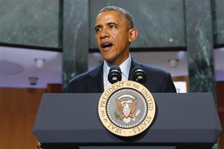 U.S. President Barack Obama delivers remarks at the National Baseball Hall of Fame in Cooperstown, New York