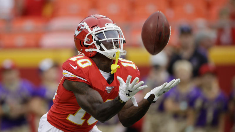 Kansas City Chiefs wide receiver Tyreek Hill (10) makes a catch before an NFL preseason football game against the San Francisco 49ers in Kansas City, Mo., Saturday, Aug. 24, 2019. (AP Photo/Charlie Riedel)