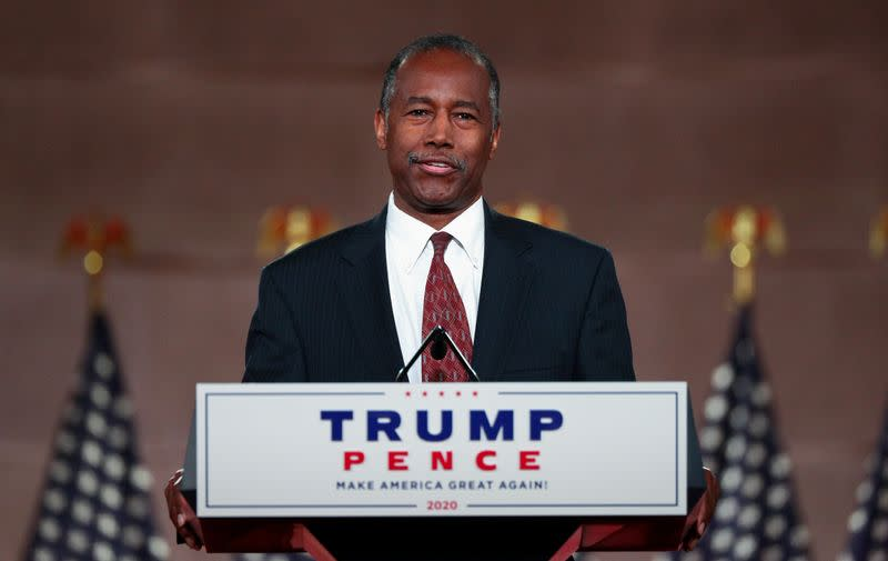 HUD Secretary Ben Carson speaks to the largely virtual 2020 Republican National Convention in Washington