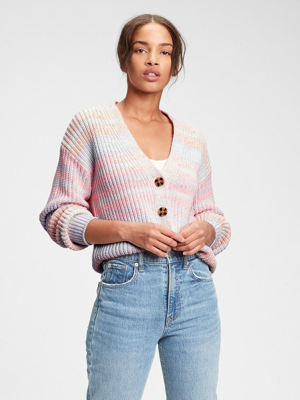 <p>I love Gap cardigans. This colorful <span>Gap Button-Front Cardigan</span> ($41, originally $70) will be perfect over a light slipdress!</p>