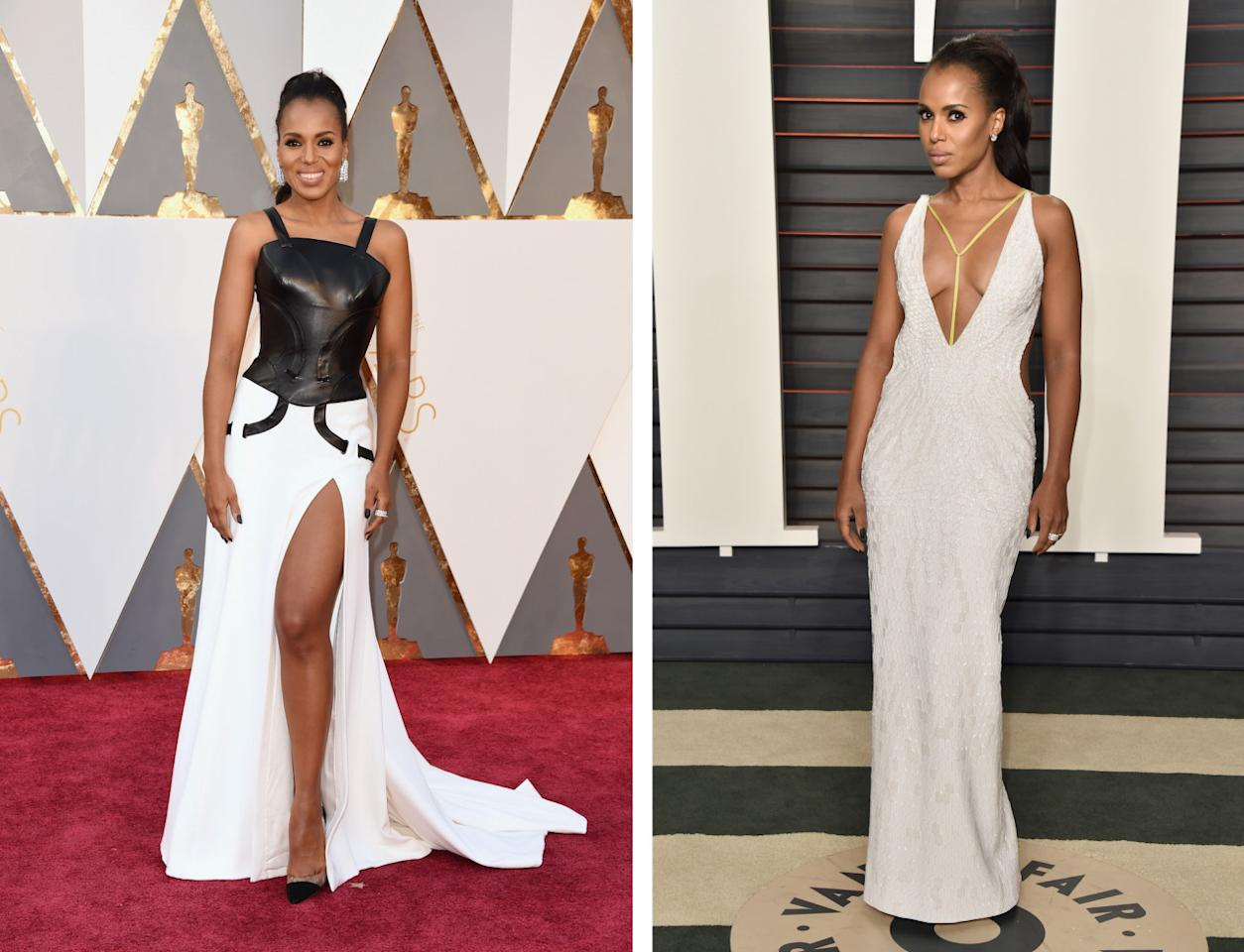 <p>At the Academy Awards, Kerry Washington was giving off major yin and yang vibes with her black and white Atelier Versace. But for the afterparty, her vibe was totally different in a white dress, also by the Italian brand, with yellow string details. <i>(Photos: Getty Images)</i></p>